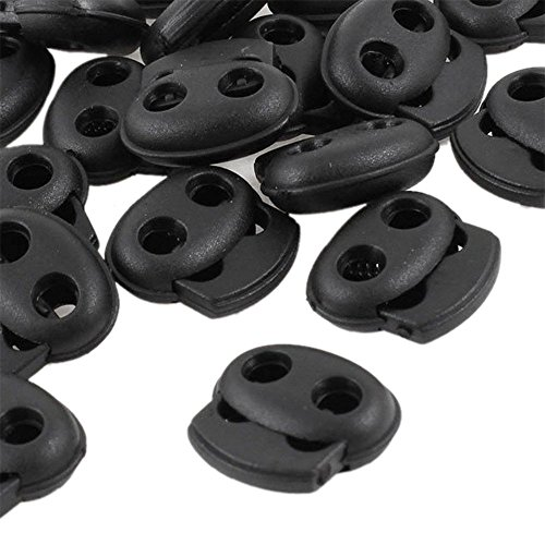 Sky Fish 2 Hole Cord Locks Cylinder Stoppers Plastic Drawstring Toggle Stoppers Spring Stop Toggle Pig Nose Shape Locks End Black 10 Pieces