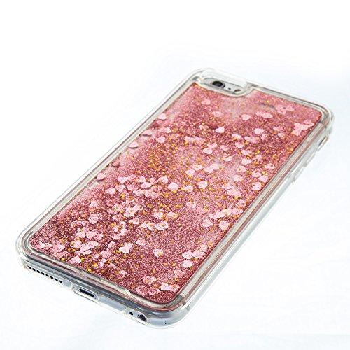 Funda Líquido Arenas Movedizas iphone 6 Plus / 6S Plus, 5.5 pulgadas, Cáscara iphone 6 Plus / 6S Plus, Alfort Casco de Protección TPU Material de la TPU de Alta Calidad Diseño de Moda Cáscara Claro Cr Rosa de Oro