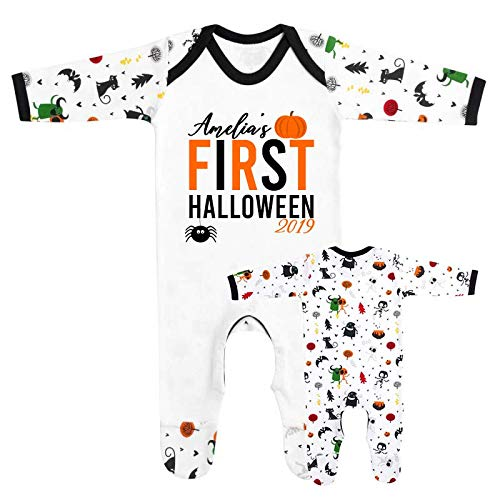 Personalised Names First Halloween 2019 Baby Romper Babygrow First Girls Boys