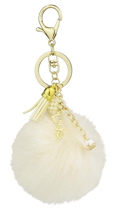 Amazon.com  Key Chain Accessories for Women - Ivory Faux Fur Ball ... 0171f2ba85e6e
