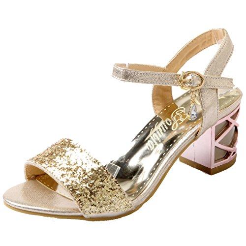 AIYOUMEI Damen Glitzer Offene Zehen Blockabsatz Knöchelriemchen Sandalen mit 6cm Absatz Chunky Heel Bequem Modern Schuhe Gold