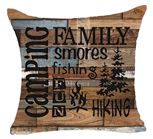 Camping Family Smores Finish Fun Hiking Fire Trees Quote Wood Grain Cotton Linen Pillowcase Cushion Cover Case For Sofa Living Room Office Decorative Throw Pillow Case Cover Square 18X18 inch (No.8)