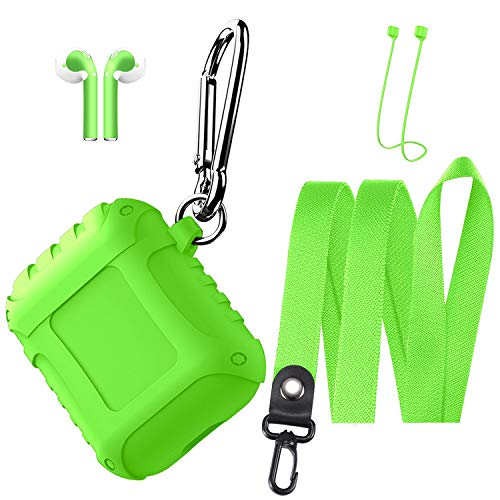 Airpods Case Shock Resistant Silicone Airpods Case Cover with AirPods Skins Stickers and Keychain,Airpods Accessories Kit for Apple AirPods-Green (Global Accessory Kit)