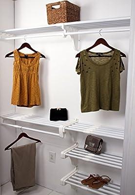 Amazon.com: EZ Shelf   Reach In Closet Kit  Up To 10.1 Ft. Of Hanging U0026 20  Ft. Of Shelf Space   White: Home U0026 Kitchen
