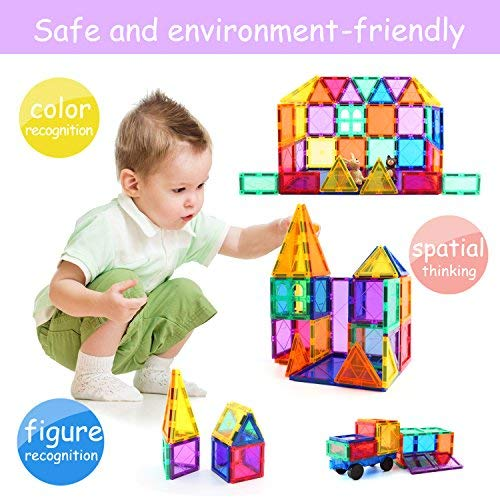 Children Hub 100pcs Magnetic Tiles Set - Educational 3D Magnet Building Blocks - Building Construction Toys for Kids - Upgraded Version with Strong Magnets - Creativity, Imagination, Inspiration by Children Hub (Image #4)