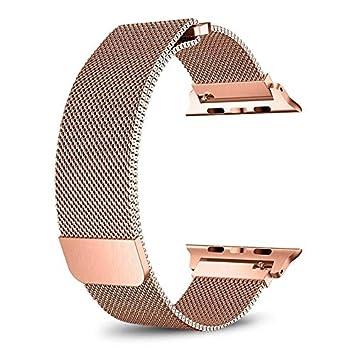 HWeggo - Correa para Apple Watch (42 mm, Malla de Acero Inoxidable, Correa milanesa con Cierre magnético, para iWatch Serie 3/2/1), Color Rosa