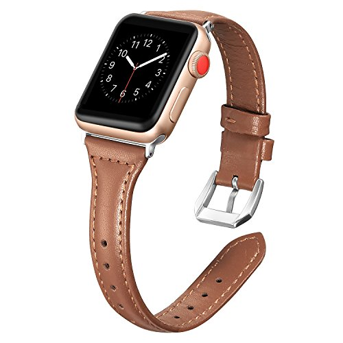 Secbolt Leather Bands Compatible Apple Watch Band 38mm 40mm Slim Replacement Wristband Sport Strap for Iwatch, Series 4 3 2 1, Edition Stainless Steel Buckle (Delicate Cognac)