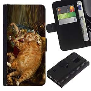 Rubens Bacchus Cat Ginger Red Yellow - la tarjeta de Crédito Slots PU Funda de cuero Monedero caso cubierta de piel Samsung Galaxy S5 V SM-G900