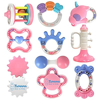TUMAMA 10 Pcs Baby Rattles and Teethers Toys for Newborn Infant Baby 0 3 6 12 Months Babies Toys Set for Baby Girl