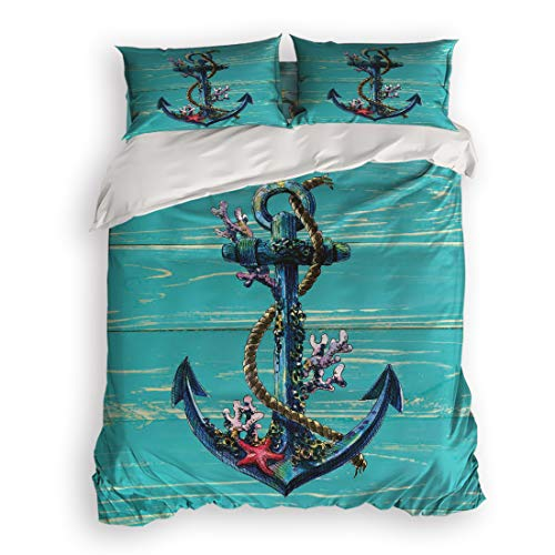 4 Pcs Bedding Set-Nautical Anchor Coral Starfish Turquoise Teal Wood Board Duvet Cover Set Ultra Soft and Easy Care Sheet Quilt Sets with Decorative Pillow Covers for Children Kids Adults-Queen
