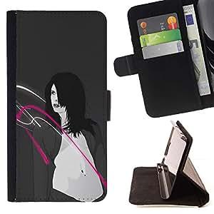 Momo Phone Case / Flip Funda de Cuero Case Cover - Moda vientre atractiva mujer pechos Arte Dibujo - Samsung Galaxy S5 V SM-G900