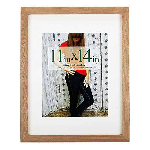 11x14 inch Picture Frame Made of Solid Wood and High Definition Glass Display Pictures 8x10 with Mat or 11x14 Without Mat for Wall Mounting Photo Frame - Wood Frame Picture