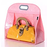 Today's Deal Santwo Handbags Storage Hanging Closet Bag Organizer Purse Holder PVC Bag and Save Space (XL, Pink)