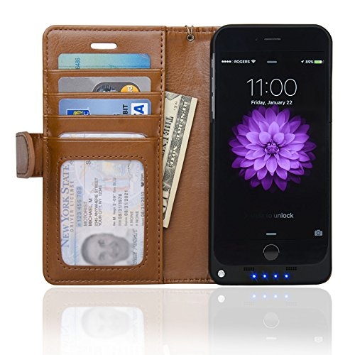 4.7-inch iPhone 6 Folio PU Leather Wallet Power Battery Case 3200 mAh - Navor (Brown) - Portable Leather Case