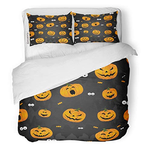 Tarolo Bedding Duvet Cover Set Abstract for Girls Boys Kids Halloween Creative Pumpkin Scary Face Funny and Colorful Bright 3 Piece Twin 68
