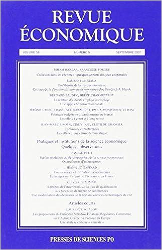 Lire un Revue économique, N° 5 - tome 58 : epub pdf