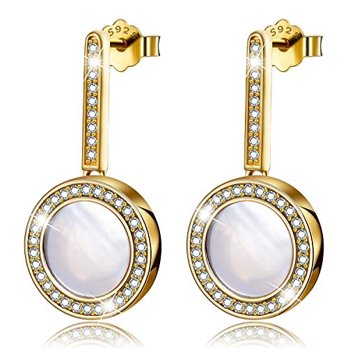 Esberry✦Gifts for Mother's Day✦18K Gold Plating 925 Sterling Silver Earrings Cubic Zirconia Drop Earrings Moonlight Shell Dangle Earrings Jewelry for Women and Girls (18K Yellow Gold-White Shell)
