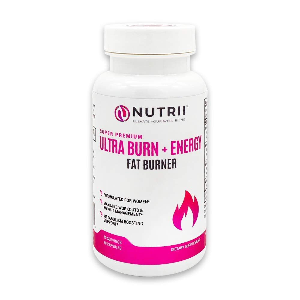 Nutrii Ultra Burn + Energy - #1 Energy + Fat Burner, Appetite Suppressant, Mental Focus, Vegan, Weight Loss Supplement, Increase Energy/Metabolism, Green Tea, Caffeine, CLA, Diet Pill, 60 Capsules by Nutrii