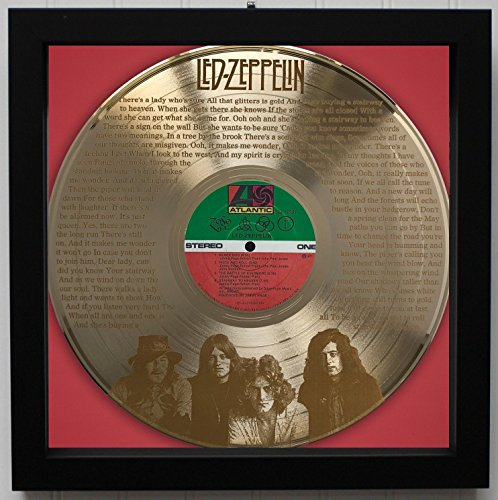 Led Zeppelin Stairway To Heaven Framed Laser Etched Gold LP Record M4