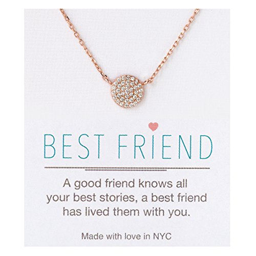 A+O Friendship Necklace - 8MM Pave Disc Necklace in Rose Gold