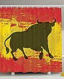 Eurag Spanish Bull Antiqued Aged Symbol Spaniard Icon Spain Flag Grunge Digital Clip Art Funky Lovely Decor Print Home Bathroom Design Set Polyester Fabric Shower Curtain, 69W X 72L inches