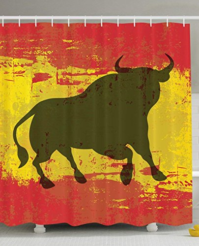Eurag Spanish Bull Antiqued Aged Symbol Spaniard Icon Spain Flag Grunge Digital Clip Art Funky Lovely Decor Print Home Bathroom Design Set Polyester Fabric Shower Curtain, 69W X 72L inches by Eurag