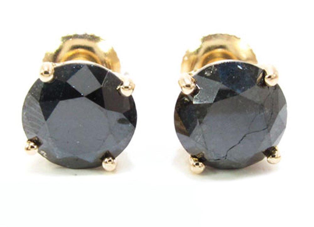 14K Yellow Gold 4.00 Carat Mens Genuine Black Diamond Stud Earrings with Screw Back
