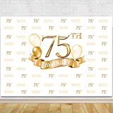 Glitter Gold and White Photo Studio Booth Background Adult Happy 75th Birthday Party Decorations Banner Backdrops for Photography