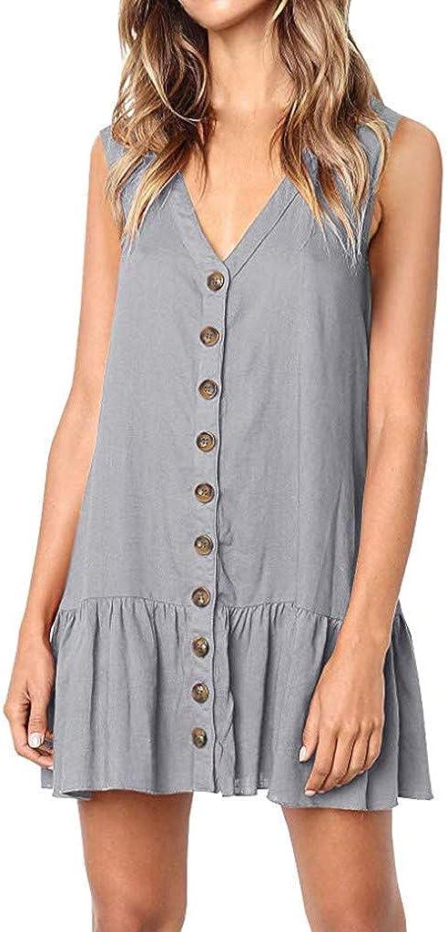 AIFGR Falda de señora DamasV Cuello pétalo sin Mangas botón Volantes Sueltos Mini Camiseta Corta Vestido de cóctel Vestido de Noche(Gris, S): Amazon.es: Ropa y accesorios