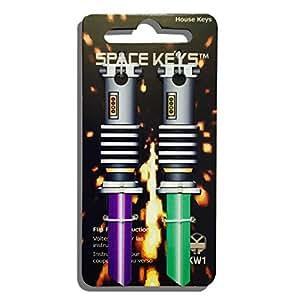 2 Green and Purple Saber Shaped Space Keys Kwikset KW1 KW10