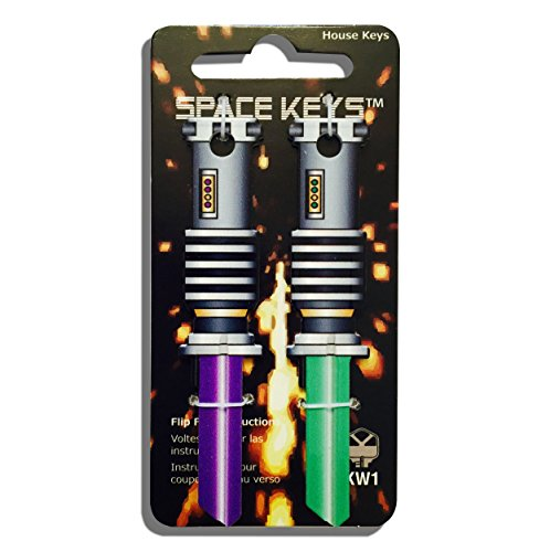 2 Green and Purple Saber Shaped Space Keys Kwikset KW1 KW10