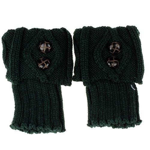 Sunhusing Fashion Buckle Short Cut Socks Crochet Knit Boot Socks Topper Cuff (Green)