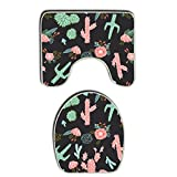 SWEET TANG Southwest Flower Cactus Bath Mat Bathroom Carpet Rug Washable Non-Slip 2 Piece Bathroom Mat Set