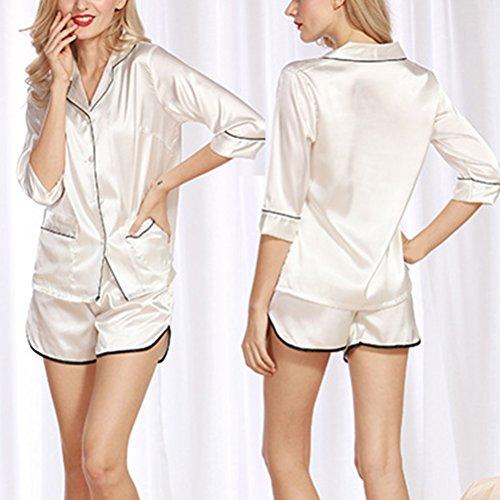 Zhuhaitf Premium Womens Satin Pyjamas with Shorts Lightweight Set White