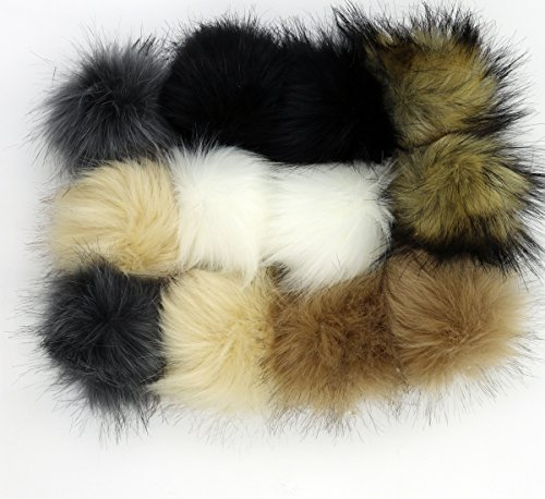 Fur Shoe Bag - Dr nezix 12pcs Faux Fur Fluffy Pompom Ball with Buckle for Hats,bags,shoes,10cm(4