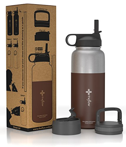 The Flow Stainless Steel Water Bottle, Double Walled/Vacuum Insulated - BPA/Toxin Free - Wide Mouth with Straw Lid (Stainless Coffee Liqueúr)