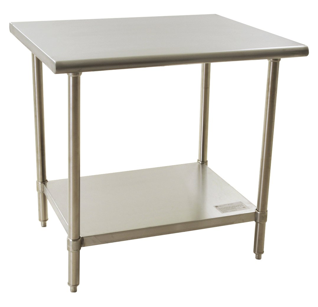Image of BlendPort BPT-3024EL Economy Table, Flat Top, Stainless Steel, Galvanized Legs/Shelf/Gussets, 30' W x 24' L, Silver Commercial Worktables & Workstations