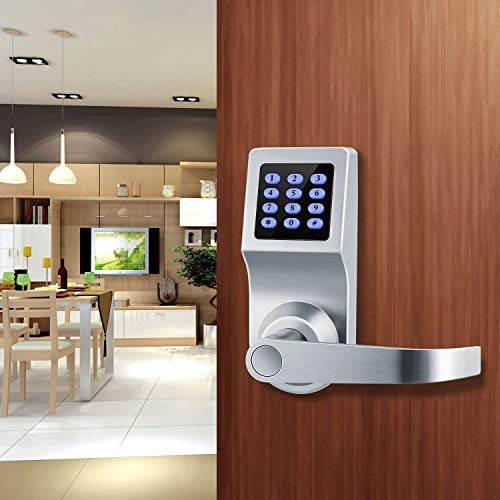 Smart Door Lock and Deadbolt in Satin Nickel with Keypad, RFID Card, Remote Control for Keyless Entry, Metal Keys Also Included, Ideal Digital Lock for Home, Office, Rentals and Hotels