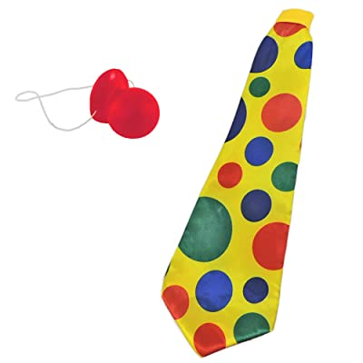 Giant Yellow Foam Clown Neck Tie & Honking Red Nose Set: Everything Else [5Bkhe0506638]