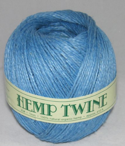 1mm 20# Hemp Twine Cording 100% Natural Organic - 20# 1mm approx. 410ft -COLOR LIGHT BLUE