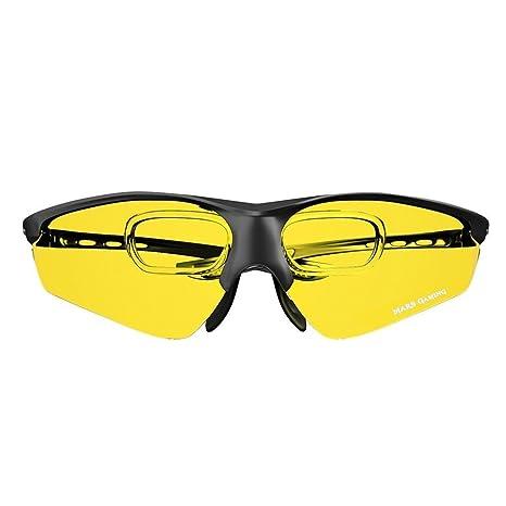 Mars Gaming MGL3 - Gafas protectoras para gaming (diseño deportivo y ligero, cristal amarillo, lentes de policarbonato, filtro luz azul, aptas para ...