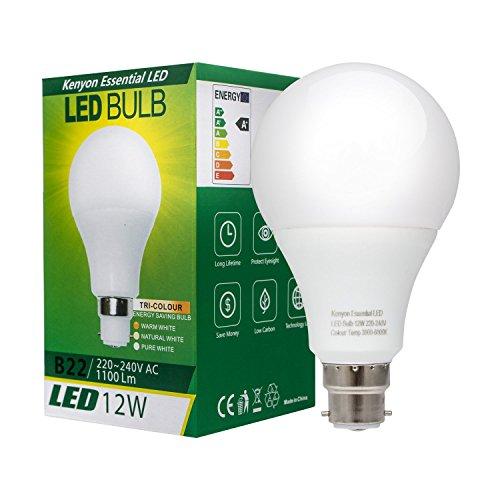 Kenyon tricolore Ampoule LED Blanc Naturel (Blanc chaud + Blanc pur + réglages)–12W, B22à baïonnette, jusqu'à 6000K (Lot de 1)