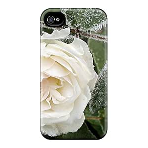 Mialisabblake Scratch-free Phone Case For Iphone 4/4s- Retail Packaging - Beautiful Frosty White Rose