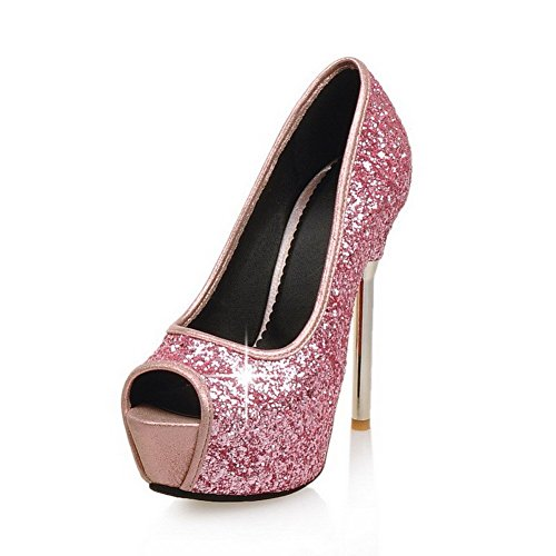 AllhqFashion Women's Peep Toe Pull On Sequins Assorted Color Spikes Stilettos Sandals Pink