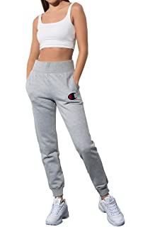 238bcd356 Champion Women's Reverse Weave Chainstitch Big C Logo Jogger Sweatpants  White
