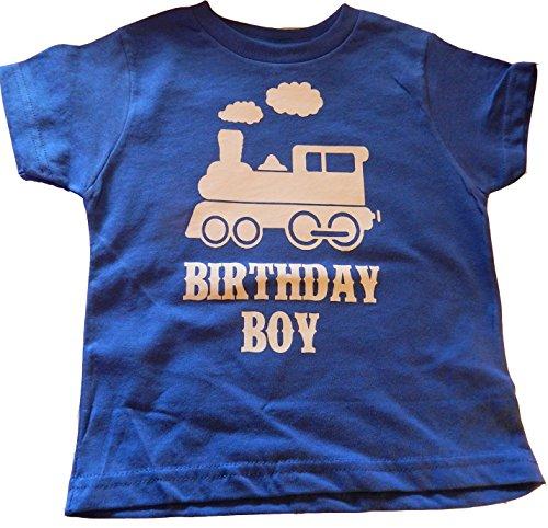 Custom Kingdom Boys Train Birthday T-shirt (4T, Royal Blue) -