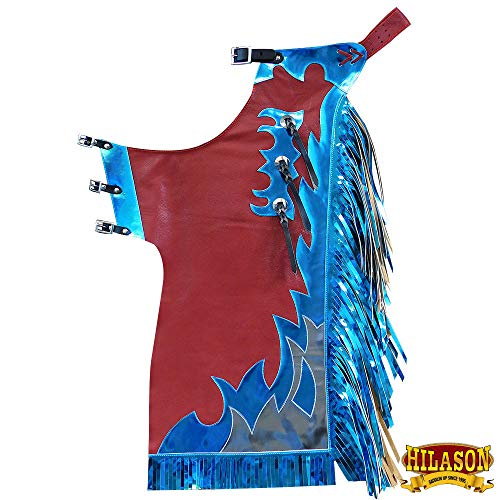 HILASON Western Youth Child Rodeo Bronc Bull Riding Show Genuine Leather Chaps