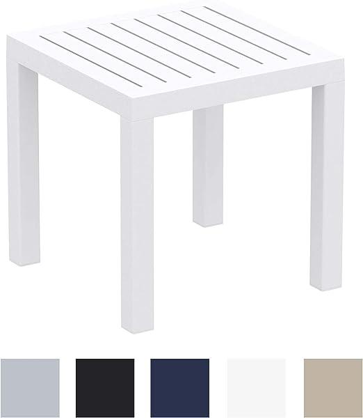 Mesa Auxiliar Ocean Impermeable I Mesa Jardín Resistente a Las inclemencias del Tiempo I Mesa de Plástico Resistente a los Rayos UV I Color:, Color:Blanco: Amazon.es: Jardín