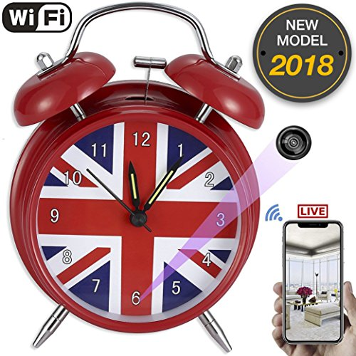 anvi Wifi Spy Hidden Camera Alarm Clock with HD 1080P Wireless Real-time Live Stream on Smartphone APP, Video Surveillance Recording, Remote Control and Security Monitoring Motion Detection by anvi