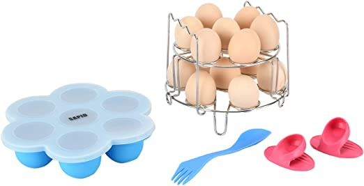 Fits 3//5//6//8 Qt Pressure Cooker Bonus Silicon Finger Sleeves and Spoon,By Sapid With Handle Stackable Egg Steamer Rack and Silicone Egg Bites Molds for Mini Instant Pot Accessories 3 Quart